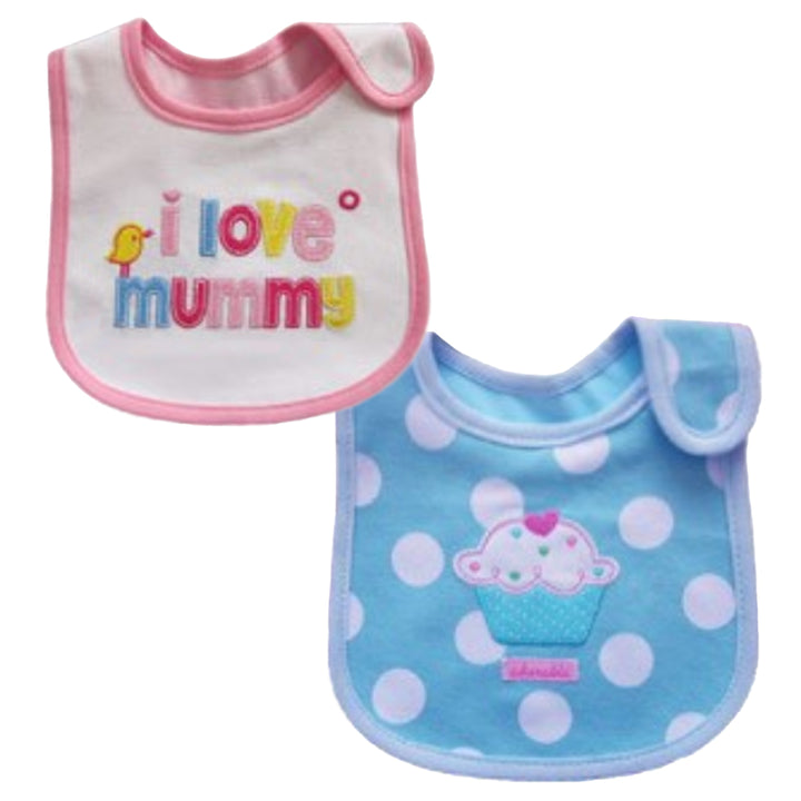 2 Pack of Baby Waterproof Cotton Bibs with Embroidered Designs - Gifts Are Blue - Baby Girl I Love Mummy Cupcake Design