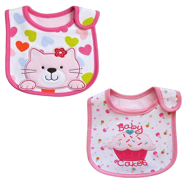 2 Pack of Baby Waterproof Cotton Bibs with Embroidered Designs - Gifts Are Blue - Baby Girl Kitty Cake Design