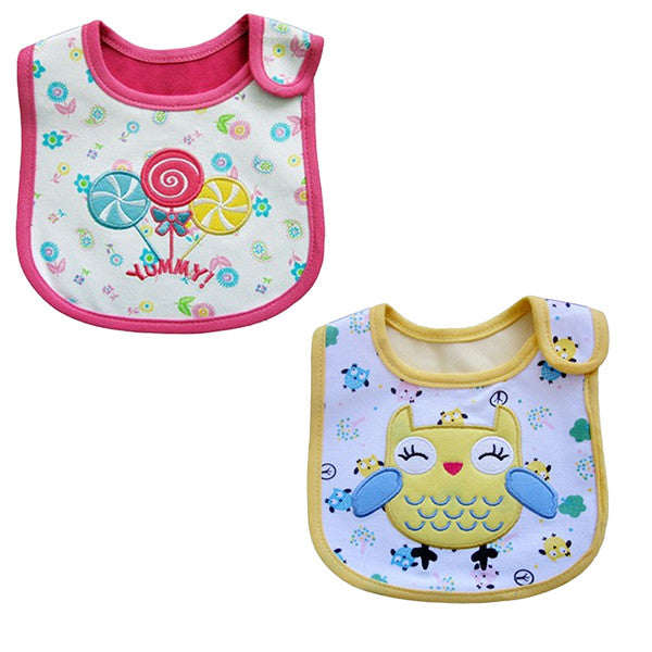 2 Pack of Baby Waterproof Cotton Bibs with Embroidered Designs - Gifts Are Blue - 3