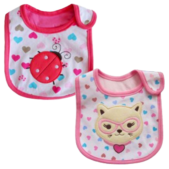 2 Pack of Baby Waterproof Cotton Bibs with Embroidered Designs - Gifts Are Blue - Baby Girl Ladybug Kitten Design