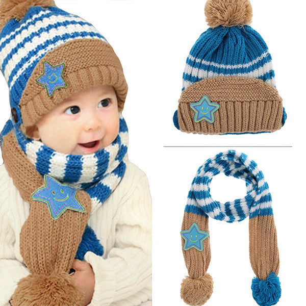 ... Little Kids Knitted Winter Beanie Hat and Scarf Set d10ce1f2b9d