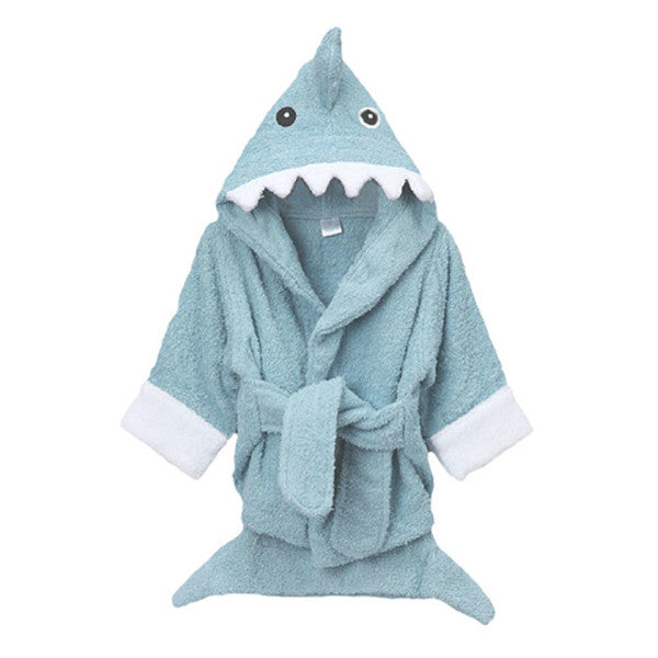 Blue Shark Hooded Kids Bath Robe Towel - Gifts Are Blue - 1