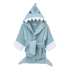 Blue Shark Hooded Kids Bath Robe Towel - Gifts Are Blue - 3
