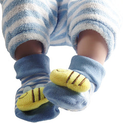 3 Pack Cute Infant Baby 3D Socks Slippers - Gifts Are Blue - 6