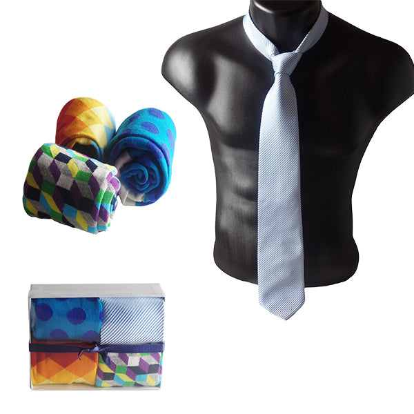 Gifts Are Blue Mens Serious Tie and Whimsical Colorful Socks Gift Sets