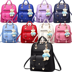 Classic Fashion Backpacks with Teddy Bear Charm