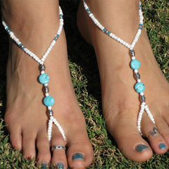 Turquoise Blue and White Stretchable Beach Wedding Footwear - Gifts Are Blue - 2