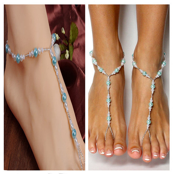 Handmade Blue Pearls Barefoot Sandals Set, Beach Wedding Anklet - Gifts Are Blue - 2