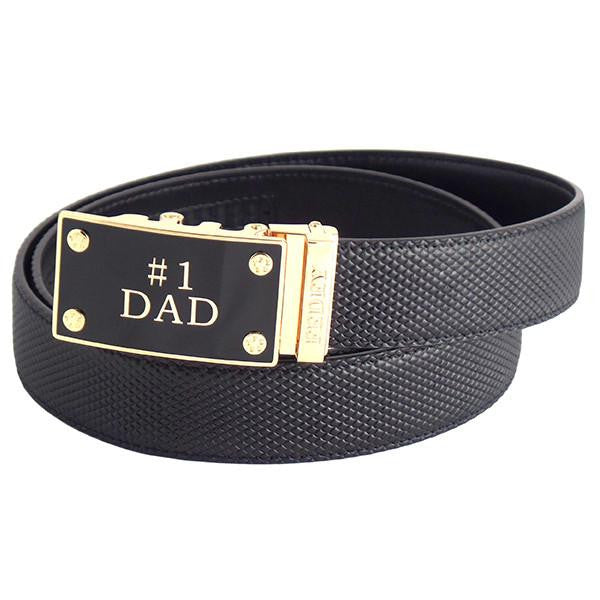 FEDEY Mens Ratchet Belt, Leather, Classic,  No1 DAD Statement Buckle, main, Black/Gold