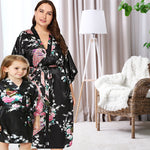Mommy and Me Robes, Floral, Satin, Black, Lifestyle, all SKUs
