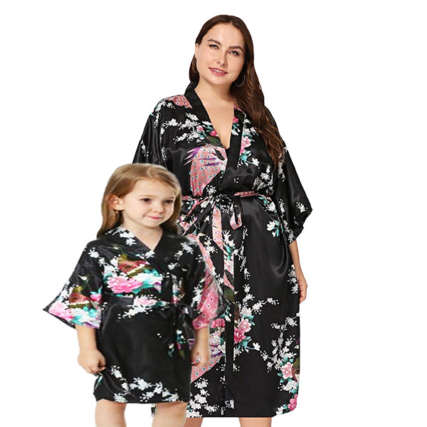 Mommy and Me Robes, Floral, Satin, Black, Main, all SKUs
