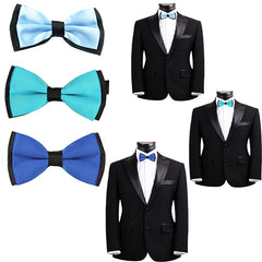 Mens Blue and Black Formal Event Pre-Tied Bow Ties