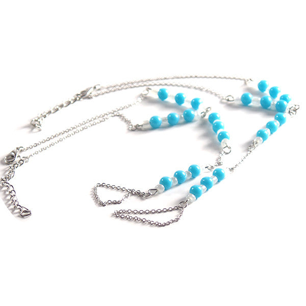 Light Blue and White Beaded Barefoot Sandal with Silver Plated Chain - Gifts Are Blue - 2