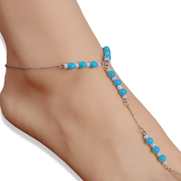 Light Blue and White Beaded Barefoot Sandal with Silver Plated Chain