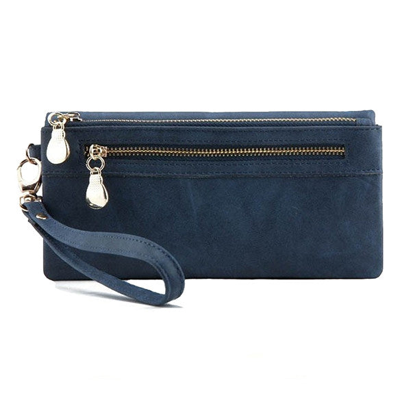 Blue Leather Clutch Wristlet Purse with Double Zipper