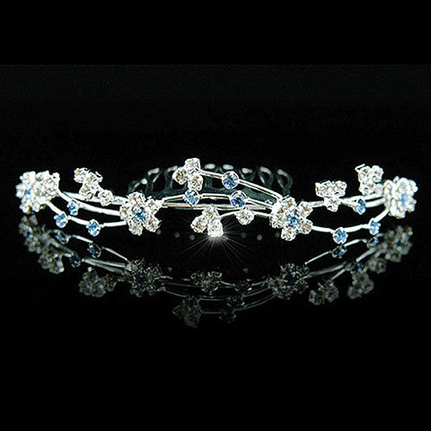 Blue Crystal Tiara Hair Comb for Bride or Flower Girl - Gifts Are Blue - 2