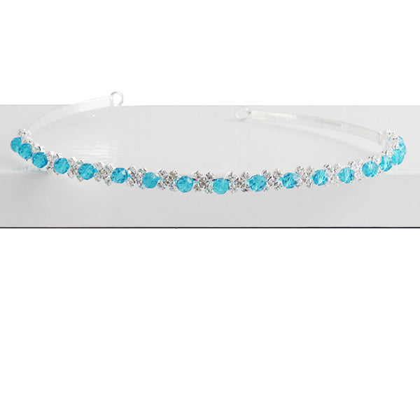 Blue Crystal Tiara Headband