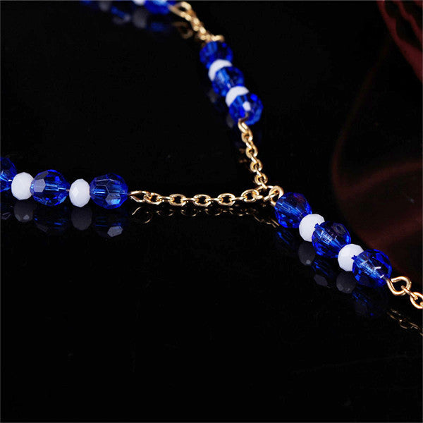 Gold Blue Glass Beads Foot Chain Jewelry, Barefoot Sandals Set - Gifts Are Blue - 4