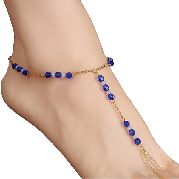 Gold Blue Glass Beads Foot Chain Jewelry, Barefoot Sandals Set