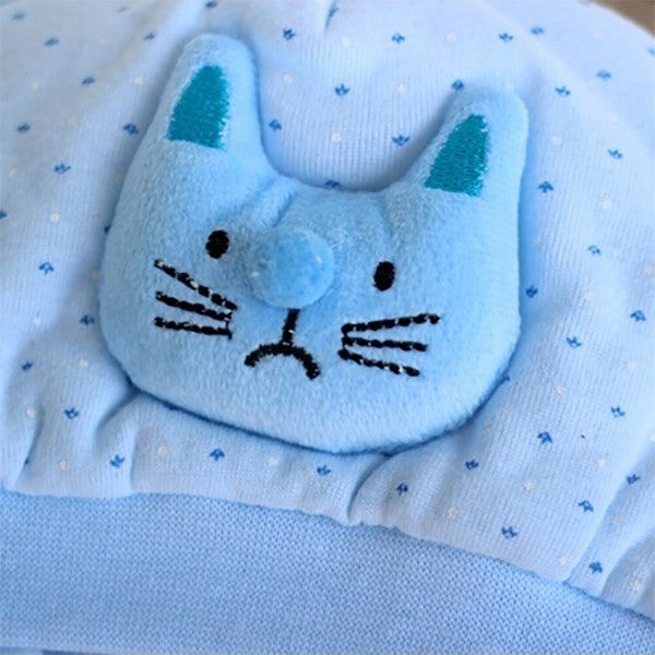 Cute Kitty Polka Dot Blue Baby Hat for 0 to 4 months - Gifts Are Blue - 2