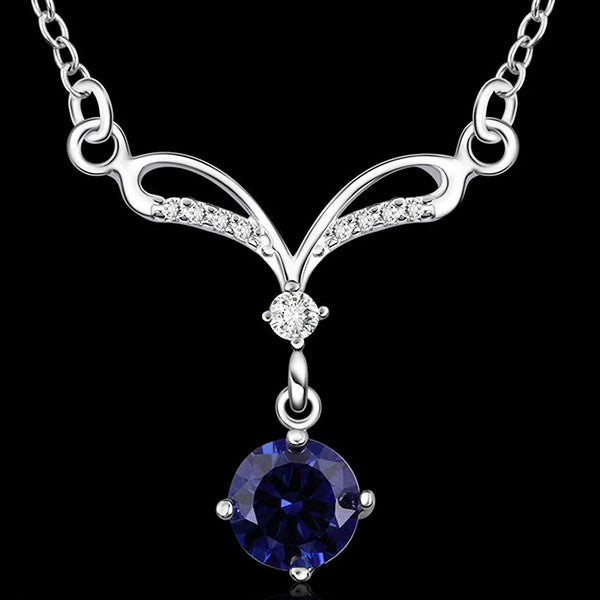 925 Sterling Silver Blue Sapphire Jewelry Set-Ring, Necklace, Earrings - Gifts Are Blue - 3