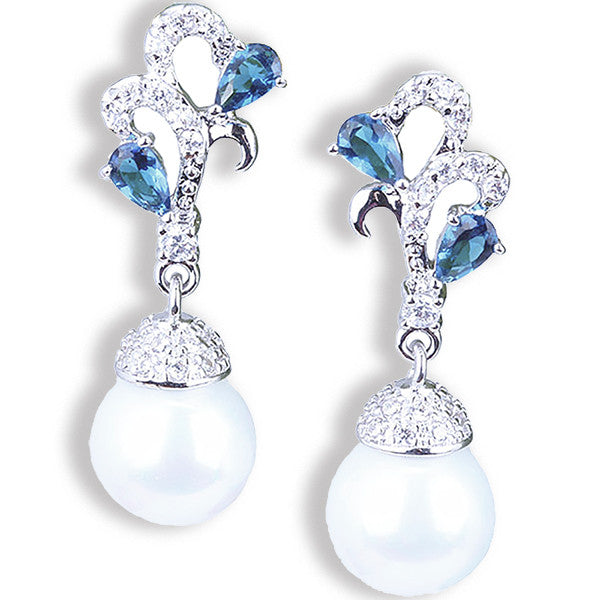 Beautiful Blue Sapphire White Pearl Earrings - Gifts Are Blue - 1