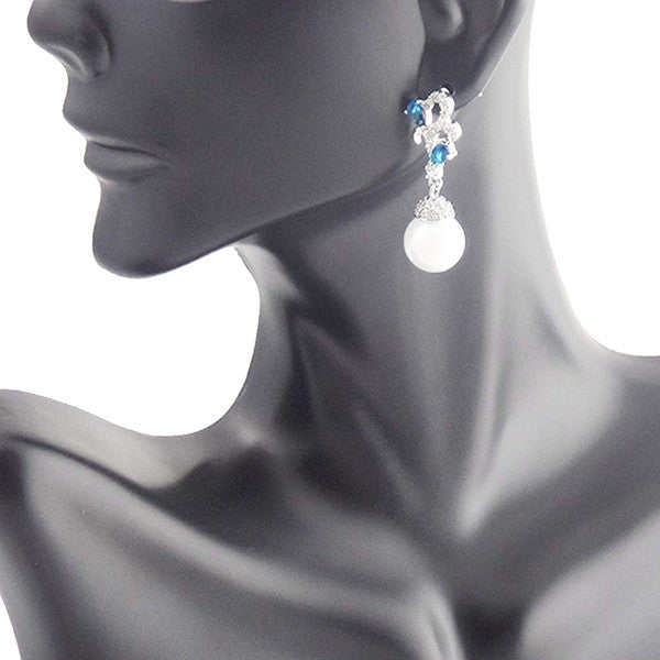 Beautiful Blue Sapphire White Pearl Earrings - Gifts Are Blue - 2