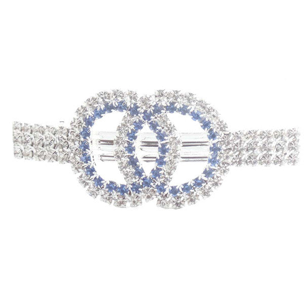 Elegant Double Circles Blue and Silver Rhinestones Hair
