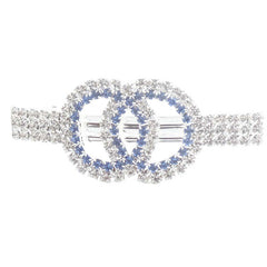 Elegant Double Circles Blue and Silver Rhinestones Hair Clip - Gifts Are Blue - 4