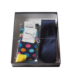 Mens Serious Tie and Whimsical Colorful Socks Gift Sets - Gifts Are Blue - 4