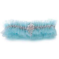Blue Tulle Garter With Rhinestone - Gifts Are Blue