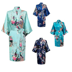 Medium Length Womens Silk Robes Kimono - Lightweight - Gifts Are Blue - 2, all SKUs