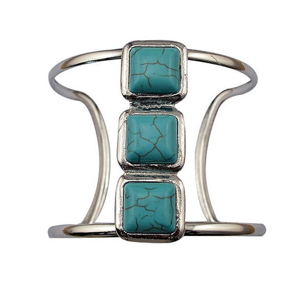 Vintage Boho Silver Plated Turquoise Cuff
