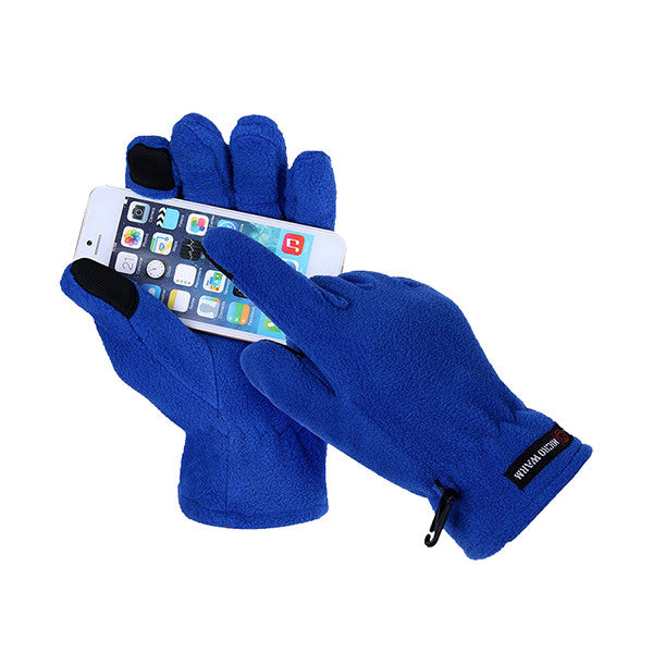 Mens Fleece Style Touch Screen Gloves - Gifts Are Blue - 1