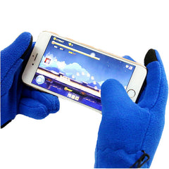 Mens Fleece Style Touch Screen Gloves - Gifts Are Blue - 3