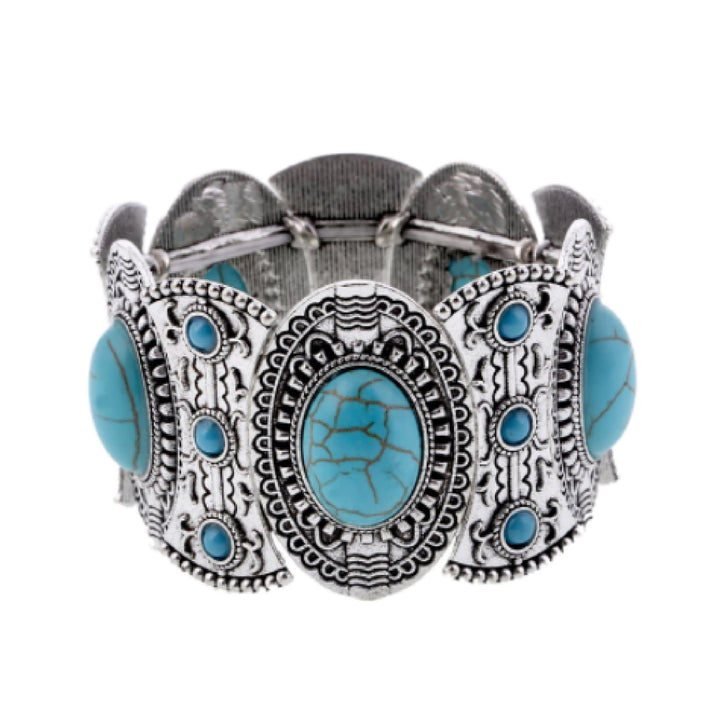 Bracelet Womens Vintage Boho Turquoise Cuff Stretch Bracelet Ethnic Jewerly Main