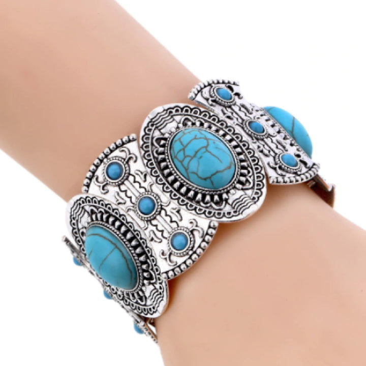 Bracelet Womens Vintage Boho Turquoise Cuff Stretch Bracelet Ethnic Jewerly Model