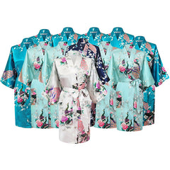 Floral Bridal Party Bride & Bridesmaid Robe Sets, Size 2-20 - Gifts Are Blue - 11