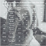 Bride and Bridesmaid Robes Sizing Chart, all SKUs