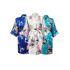 Bridesmaid Robe Set of 3, Floral, Womens Sizes 2-18, Mid Length