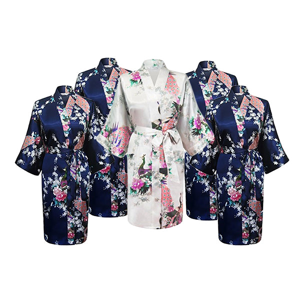 Bridesmaid Robe Set of 5, Floral, Womens Sizes 2-18, Mid Length