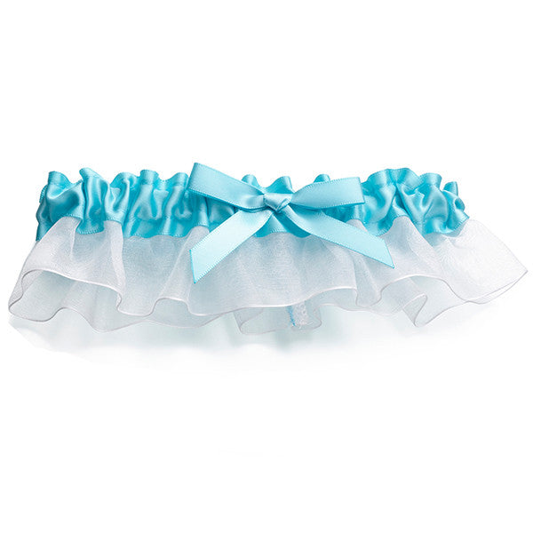Bride Satin Wedding Garter,  Aqua Blue