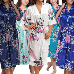 Bridesmaid Robe Set of 4, Floral, Womens Sizes 2-18, Mid Length