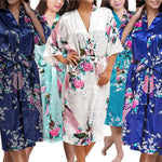 Bridesmaid Robe Set of 12, Floral, Womens Sizes 2-18, Mid Length