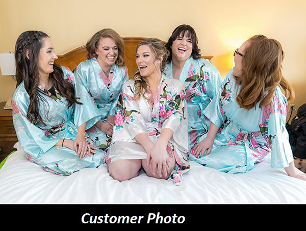Bridesmaid Robe Set of 6, Floral, Womens Sizes 2-18, Mid Length