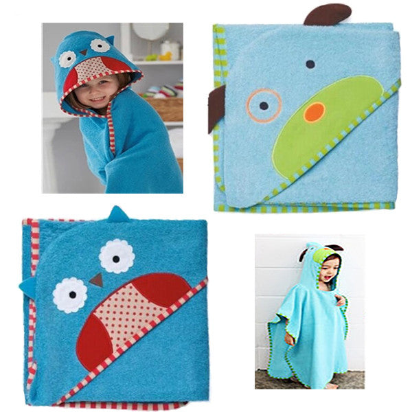 Cartoon Print Infant Toddler Blue Animal Hooded Bath Robe