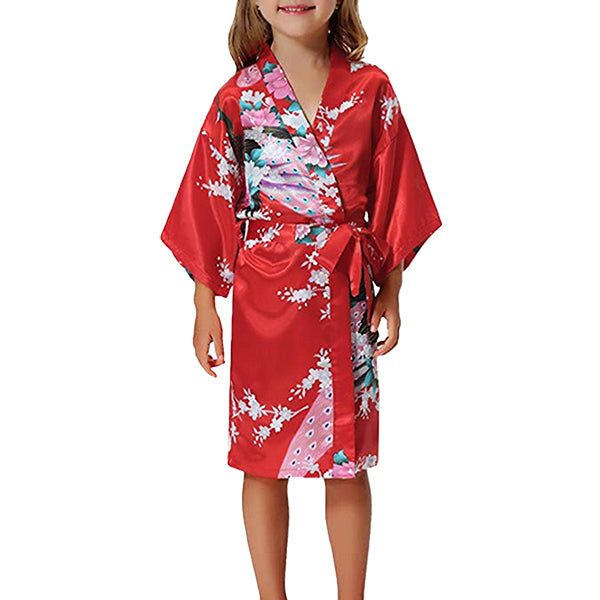 Girls Robes, Floral with Peacocks Design, Flower Girl, Model, Fiery Red