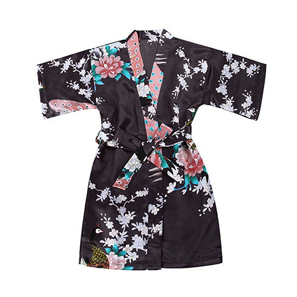 Girls Robes, Floral, Flower Girl, Spa Party, Black