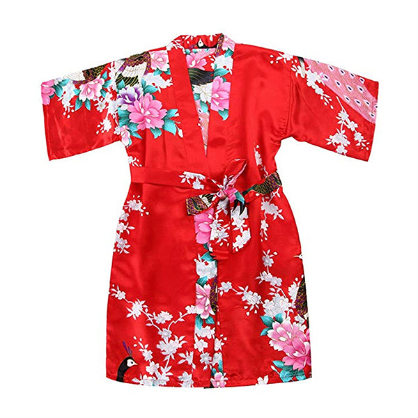Red Mommy and Me Robes, Floral, Satin, Child Kimono Robe, all SKUs