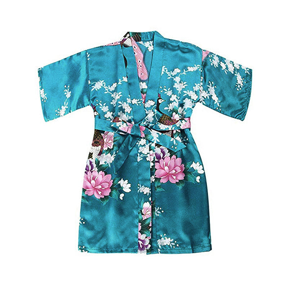Girls Robes, Floral, Flower Girl, Spa Party, Lake Blue